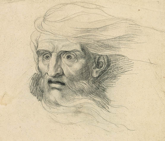 Drawing of the head of Lear. ca. 1773-75.