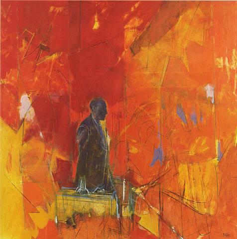viajar.-el hombre con la maleta.-por Alberto Sughi.-1992.-artnet