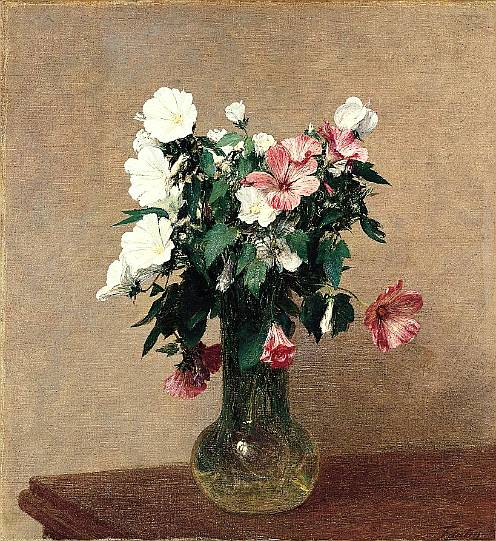 Fantin-Latour.-FF.-White and Pink Mallows in a Vase.-1895