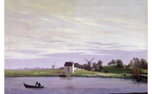 FRIEDRICH.-G.-En en Ryck en Greifswald con una vista de los molinos delante de la barrera de Steinbeck.-1822-1823.-elcultural.es