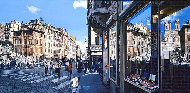 Roma.-Plaza de España.-1986.-por Richard Estes.-artnet