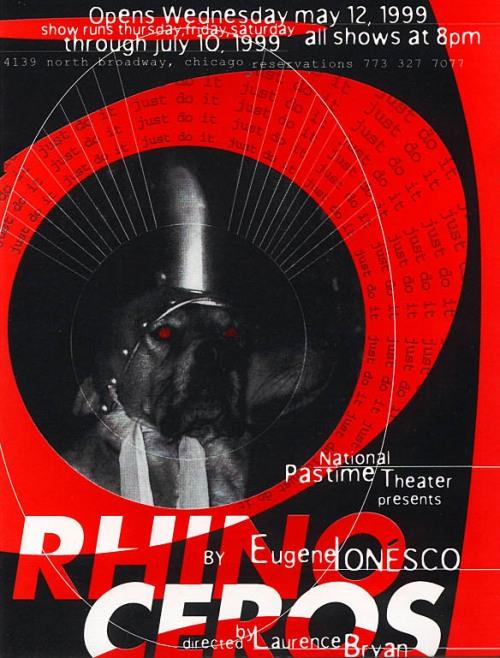 IONESCO.-H.-Rinoceronte 6.-affiche delNational Pastime Theater.-Chicago.-1999