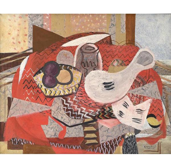 Braque-bohhu-naturaleza muerta con mantel rojo- mil novecientos treinta y cuatro-colección particular GeorgesvBraque- foto Leiris SAS- VEGAP.-Bilbao