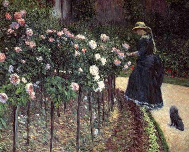 flores.-7hnnmm.-rosas.-Gustave Caillebotte.-rosas en el jardín del Petir Gennevilliers