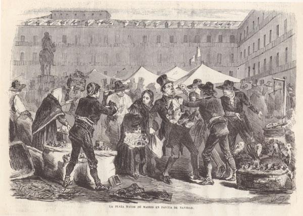 madrid-plaza-mayor-de-madrid-en-1860-dibujante-nogueras-el-museo-nacional-1860-saber-es